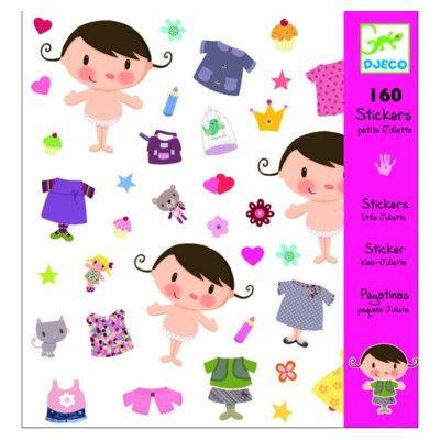 Klistermærker - pige med tøj - Djeco