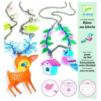 Kreativ leg med krympeplast - smykker - dådyr & fugl