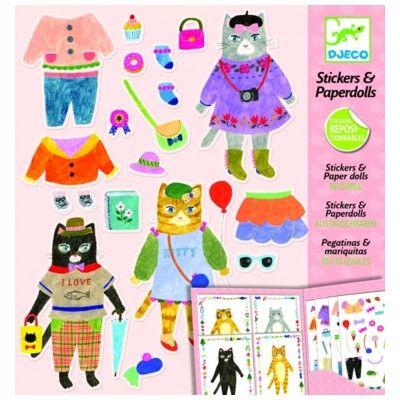 Påklædningsdukker i papir - katte-venner