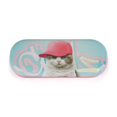 Brilleetui - kat med lyserød kasket - Catseye