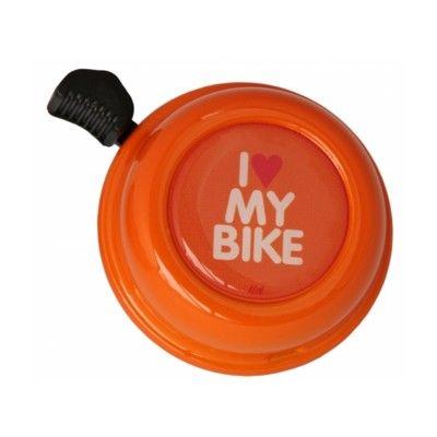 Ringeklokke til cykel - orange med I love my bike - Liix