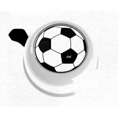 Ringeklokke til cykel - hvid med fodbold - Liix