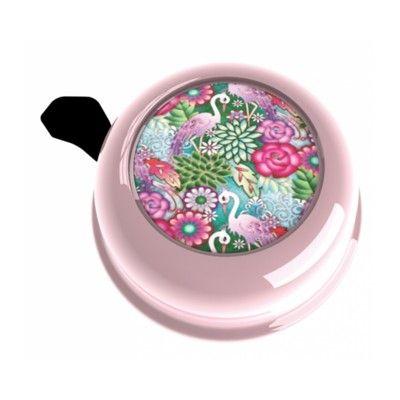 Ringeklokke til cykel - lyserød med flamingoer og blomster - Liix