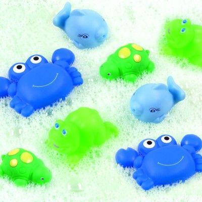 Badelegetøj - dyr som kan sprøjte vand - blå, 8 stk