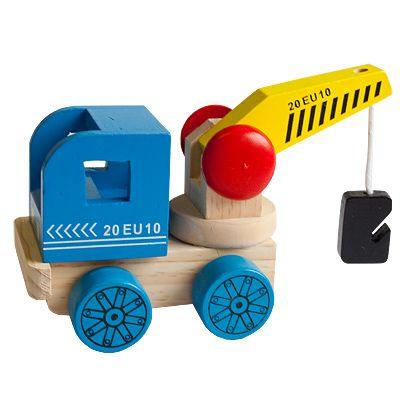 Bil i træ - kranbil, blå