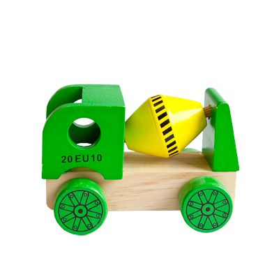 Bil i træ - cementbil, grøn