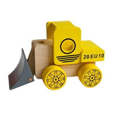 Bil i træ - gravemaskine, gul