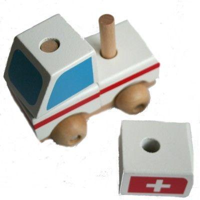 Træbil - Ambulance med klodser