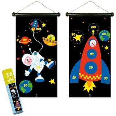 Spil - magnetisk dartskive, astronaut og raket