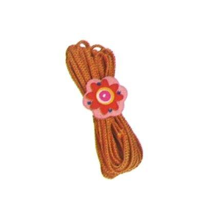 Hoppeelastik - orange med blomst